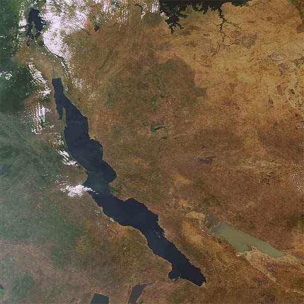 Lake Tanganyika is a large elongated lake in central Africa.
